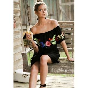 Dresses & Skirts - Black off the shoulder dress with embroidery